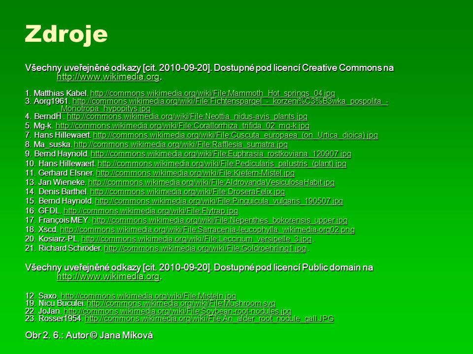 Zdroje Všechny uveřejněné odkazy [cit. 2010-09-20]. Dostupné pod licencí Creative Commons na http://www.wikimedia.org.